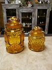 2 Vintage L. E. Smith Moon and Stars Amber Glass Canister Set