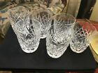 """6 Signed WATERFORD IRISH CRYSTAL 3 1/2"""" 5 oz FLAT TUMBLERS  - DONEGAL PATTERN"""