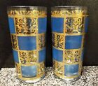 2 CULVER BLUE PRADO hiball glasses Turquoise GOLD scroll Beautiful condition!