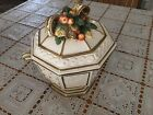 Fitz & Floyd Snowy Woods Soup Tureen With Lid Holly Bow Gold Trim EUC