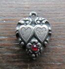 VINTAGE Sterling Silver Puffy Heart Charm Double hearts w red stone Tena