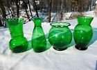 4 Anchor Hocking Forest Green Glass Assorted Size Vases