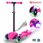 Pink Kick Scooter Kids 3 Wheel Glider With Music LED Light Atomizer Adjustable