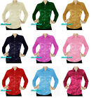 Vintage style Women Satin Button Down Solid Collar Shirts Long Sleeve Blouse NEW