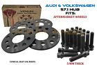 5MM Audi Volkswagen Hubcentric Wheel Spacer Kit + Conical Bolts Fits A4 GTI Golf