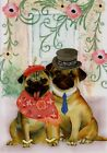 Note Card Pug Couple Greeting Card With Matching Envelope
