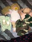 (LOT 2) VINTAGE CABBAGE PATCH KIDS DOLLS: Blond Girl & Brown boy dog