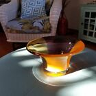 Gorgeous Art Glass Deep Orange Hand Blown Depression Glass Sculptured Decorative