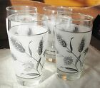 4 Vintage Frosted Drinking Glasses by Libbey - Silver Wheat Pattern Circa 1960's