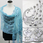 Sequin Beaded Shawl Peacock Heart Wedding Party Gift Evening Scarf Wrap Fringe