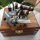 WOODEN BOX BRASS COLLECTIBLE GERMAN ASTROLABE SEXTANT