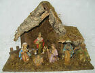 Nativity Scene Vintage Bark Wood with Attached Figures 135 long Made in Italy