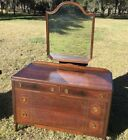 VINTAGE ANTIQUE Inlaid Inlay French Flame Mahogany Dresser Chest Drawers Mirror