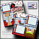 FEELING ICKY sick 2 premade scrapbook pages paper piecing layout doctor CHERRY