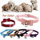 Cat Kitty Elastic Dog Collar Velvet Leather Pet Necklacce Bell Bow Tie