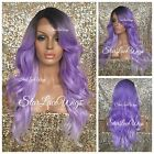 Full Wig Ombre Long Light Purple Loose Curl Dark Roots Bangs Layers Heat Safe Ok