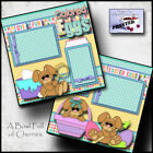 COLORING EGGS EASTER 2 premade scrapbook pages paper piecing layout CHERRY