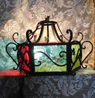 SPANISH REVIVAL Wrought Iron 3 Light Hanging Lamp ~ Hand Wrought~ Slag Glass~