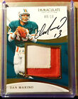 2017 Immaculate Collection Dan Marino 9 10 GWM ON CARD AUTO 3 Clr WITH STITCHING
