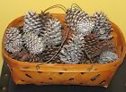 ~Antique Woven Bread Basket with Wire Handle and Decorative Pine Cones~