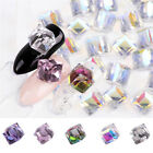 3D AB Nail Crystal Rhinestone Cube Square Design Glass Beads Nail Stones 8mm