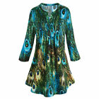 Womens Tunic Top Green  Blue Peacock Feathers Pleated Blouse