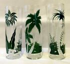 3 Vintage Libbey Glass Tropical Palm Tree Cocktail Iced Tea Tom Collins Glasses