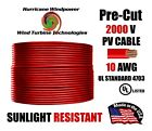 10 AWG Gauge PV Wire 1000 2000 Volt Pre Cut 15 500 Ft for Solar Installation RED