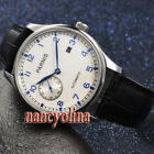 Parnis 43mm Brushed case white dial blue marks seagull automatic date watch
