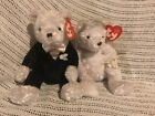 TY BEANIE BABY BRIDE AND GROOM WEDDING BEARS 2002