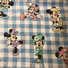Vtg Disney Minnie Mouse Flat TWIN Sheet Blue Gingham Cutter Fabric Checkered Kid