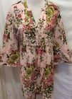 Denim 24 7 Blouse 24W Pink Green Yellow Floral Print Button Front Tunic