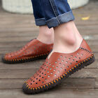 Mens Breathable Sandals Shoes hole Hollow Casual Leather Driving Loafers Slip