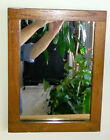 Antique Primitive Hanging Mirror in Wooden Frame 16 x 12 Rustic Hand Made Frame