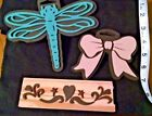 Lot of 3 Foam Stamps Various Themes Dragonfly Bow Heart Scroll Unused