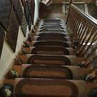 VINTAGE SET OF 12 AWESOME HAND BRAIDED RUG STAIR TREADS