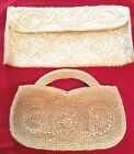 LOT OF 2 VINTAGE HAND BAGS MAYBE FROM 1920'S? 1 WITH TINY PEARL SEADS, 1 SEQUINS