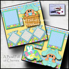 EASTER BABY BOY  2 premade scrapbook pages paper piecing layout 12X12 CHERRY