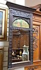 ANTIQUE CARVED WALL MIRROR WOOD FRAME WITH PAINTING 1890