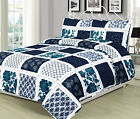 Twin Queen or King Quilt Patchwork Navy Blue White Teal Bedspread Bedding Set