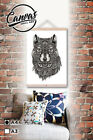 1 canvas printed wall art a4 wood roll up scroll hip style dressed wolf