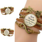 ES Womens Best Friend Letter Multi layer Bracelet Bangle Gift Pendant Natural