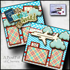 VACATION world awaits flying 2 PREMADE SCRAPBOOK PAGES paper piecing CHERRY