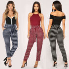 USA Women Casual Stripe Harem Pants Elastic Pockets Long Pants Trousers Plus SZ