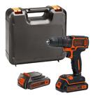 BLACK DECKER 18 V Lithium-Ion Drill Driver with Kit Box and 2 Batteries