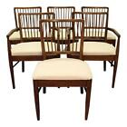 Set of 6 Mid-Century Danish Modern Walnut Spindle Back Dining Chairs