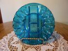 BLUE INDIANA GLASS EGG PLATE WITH RELISH IN CENTER