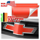 2pcs 5x10 Matte Chevy Emblem Bowtie Back Front Vinyl Wrap Decal Overlay Sheet