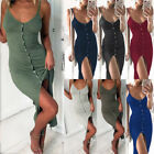 Women Sleeveless Bodycon Casual Party Evening Cocktail Midi Dress Button up Slit