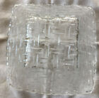 Vintage Clear Glass Square Serving Bowl with Lattice Pattern